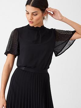 oasis-embellished-angel-sleeve-top-black
