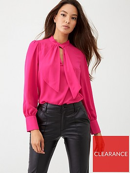 oasis-high-frill-neck-top-mid-pink