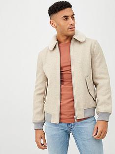 river-island-oatmeal-grey-melange-borg-collar-jacket
