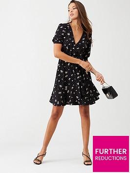 oasis-abigail-glitter-wrap-balloon-sleeve-skater-dress-black