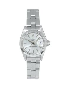 rolex-rolex-pre-owned-ladies-date-steel-watch-silver-dial-ref-69160