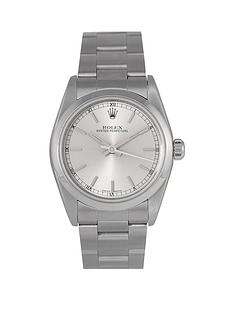rolex-rolex-pre-owned-midsize-oyster-perpetual-steel-watch-silver-baton-dial-ref-77080