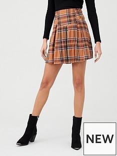 v-by-very-check-yellow-mini-skirt-check