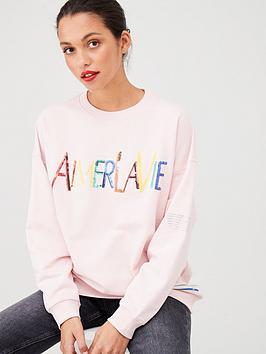 river-island-river-island-sequin-slogan-jersey-jumper-pink