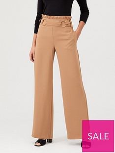 v-by-very-buckle-front-paperbag-waist-trouser-camel