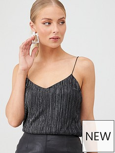 v-by-very-plisse-metallic-top-black