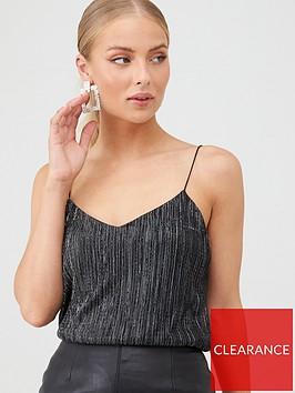 v-by-very-plisse-metallic-top-black