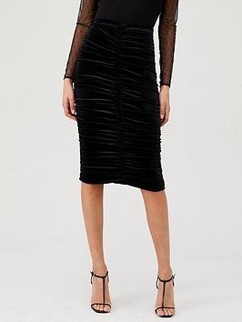 v-by-very-ruched-front-velvet-skirt-black
