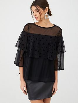 v-by-very-star-flock-tiered-top-black