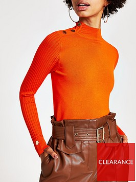 river-island-river-island-button-detail-high-neck-rib-knitted-top-orange