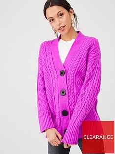 river-island-river-island-cable-knit-button-through-cardigan-purple