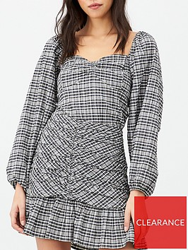 v-by-very-ruched-front-mono-check-blouse-check