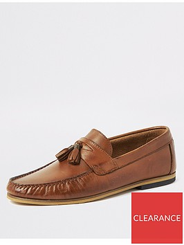 river-island-brown-leather-wide-fit-tassel-loafers