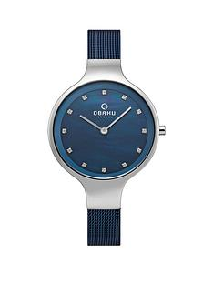 obaku-obaku-sky-blue-and-silver-dial-blue-stainless-steel-mesh-strap-ladies-watch