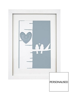 personalised-grey-love-birds-a4-framed-print