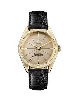 vivienne-westwood-vivienne-westwood-conduit-gold-dial-black-leather-strap-watch