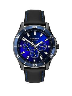 sekonda-sekonda-blue-sunray-multi-dial-black-silicone-strap-mens-watch