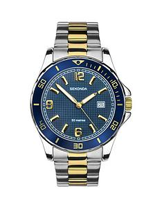 sekonda-sekonda-blue-and-gold-detail-date-dial-two-tone-stainless-steel-bracelet-mens-watch