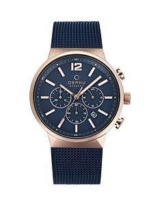 obaku-obaku-storm-blue-and-rose-gold-detail-chronograph-dial-blue-stainless-steel-mesh-strap-mens-watch