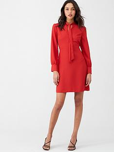 warehouse-pussy-bow-dress-red