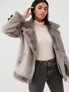 warehouse-oversized-aviator-jacket-grey