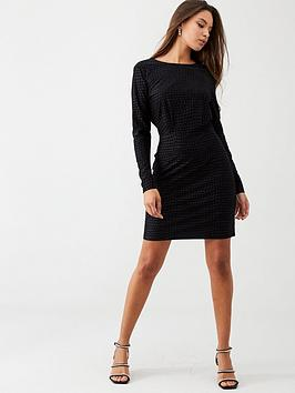 warehouse-croc-textured-dress-black