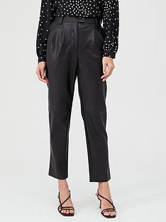 warehouse-pu-trouser-black
