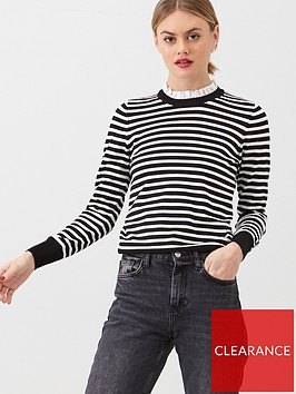 warehouse-stripe-lace-ruffle-neck-jumper