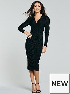 michelle-keegan-puff-sleeve-wrap-bodycon-dress-black