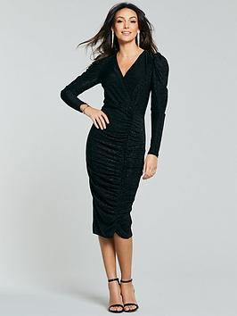 michelle-keegan-puff-sleeve-wrap-bodycon-dress-black