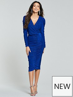 michelle-keegan-puff-sleeve-wrap-bodycon-dress-cobalt