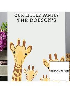 personalised-giraffe-family-metal-sign
