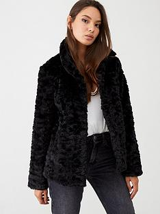 oasis-twisty-faux-fur-coat-black