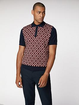 ben-sherman-pattern-front-polo-dark-navypatterned