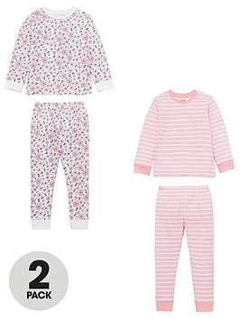 v-by-very-girls-2-pack-flower-and-stripe-pyjamas-pink-multi