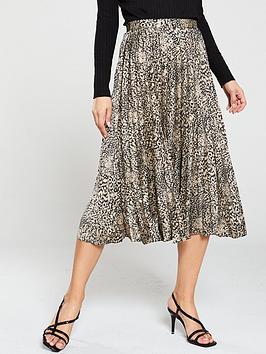 oasis-animal-pleat-satin-skirt-neutral