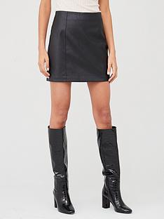 oasis-faux-leather-seamed-mini-skirt-black