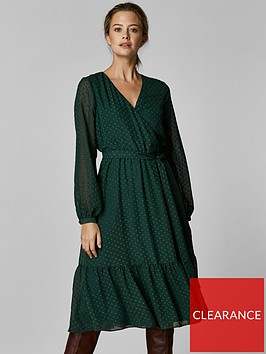wallis-wallis-petite-green-dobby-tiered-midi-dress