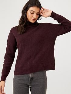 warehouse-cosy-skinny-rib-jumper-berry