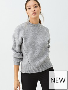 warehouse-curved-hem-cosy-jumper-light-grey