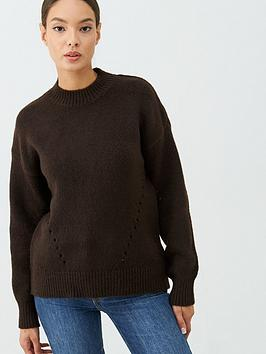 warehouse-curved-hem-cosy-jumper-chocolate
