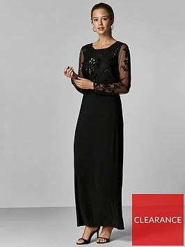 wallis-petite-floral-sequin-mesh-maxi-dress-black