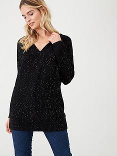 wallis-sequin-v-neck-jumper-black