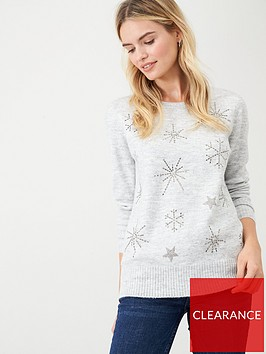 wallis-starburst-embellished-jumper-grey