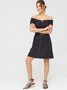 v-by-very-bardot-puff-sleeve-jersey-dress-black