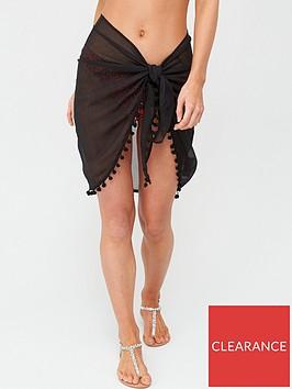 v-by-very-pom-pom-trim-beach-sarong-black