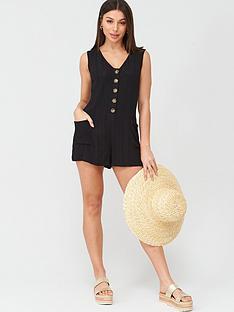 v-by-very-button-detail-beachnbspplaysuit-black