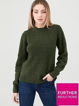 warehouse-teddy-boucle-blouson-sleeve-jumper--forest-green