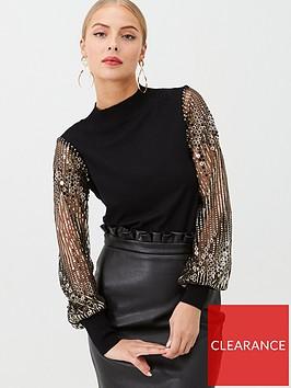 warehouse-sequin-sleeve-jumper-black