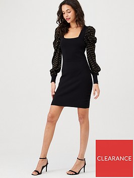 warehouse-square-neck-metallic-spot-sleeve-dress-black